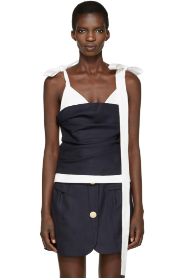 Jacquemus - Navy & White 'Le Top Bustier' Tank Top