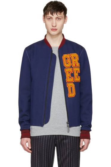 Pyer Moss - SSENSE Exclusive Blue 'Greed' Varsity Bomber Jacket
