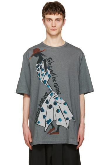Yohji Yamamoto - Grey Polka Dot Dress T-Shirt