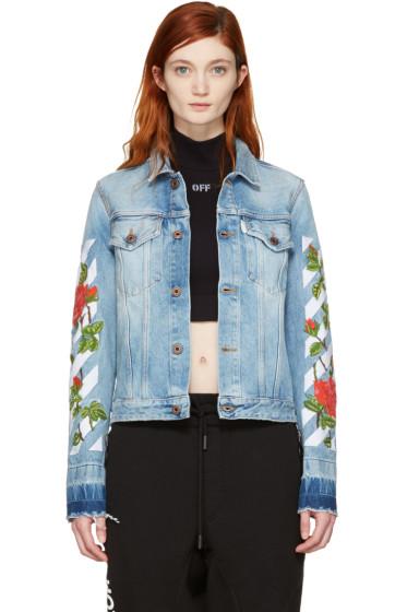 Off-White - Blue Diagonal Roses Slim Denim Jacket