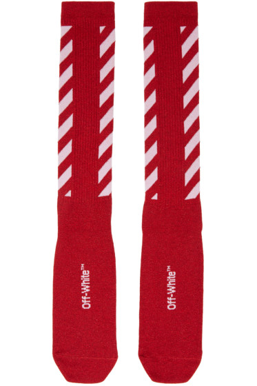 Off-White - Red Diagonal Shiny Socks