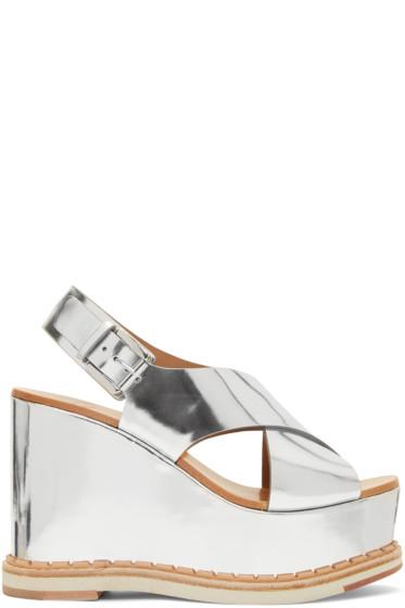 Flamingos - Silver Mirror Trendy Wedge Sandals