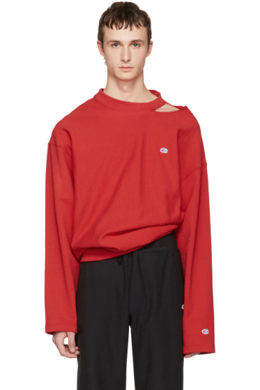 Vetements - Red Champion Edition Cut Out Neckline Pullover