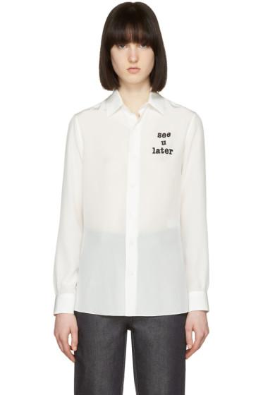 Loewe - White 'See U Later' Silk Shirt