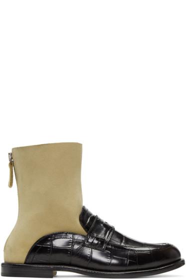 Loewe - Black & Beige Sock Loafer Boots