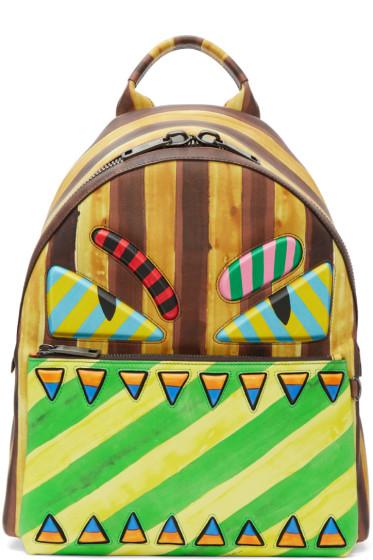 Fendi - Multicolor Striped 'Bag Bugs' Backpack