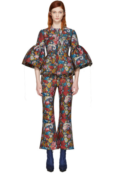 Marques Almeida - Multicolor Jacquard Frill Sleeve Jacket