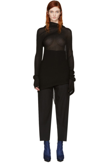 Marques Almeida - Black Classic Draped Sweater Dress