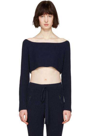 Baja East - Navy Cashmere Off-the-Shoulder Sweater