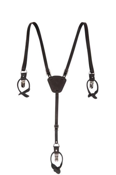 Y's - Black Leather Suspenders