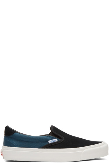 Vans - Black & Blue OG Classic LX 59 Slip-On Sneakers