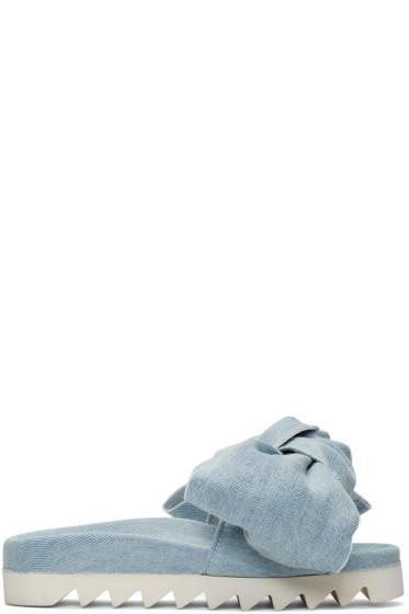 Joshua Sanders - Blue Denim Bow Slide Sandals