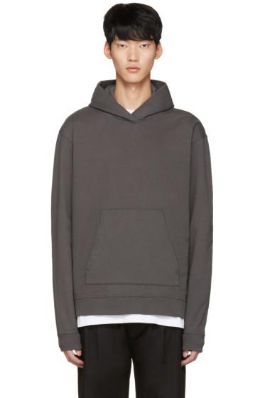 John Elliott - Grey Oversized Cropped Hoodie