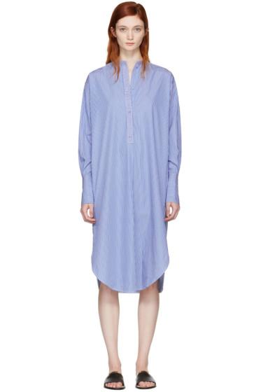 Ports 1961 - Blue Striped Poplin Dress
