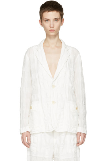 Issey Miyake - White Linen Check Blazer