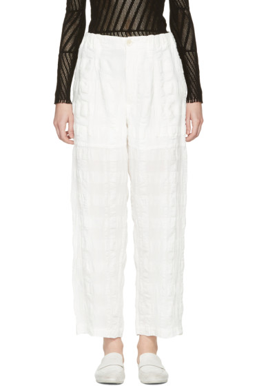 Issey Miyake - White Linen Check Trousers