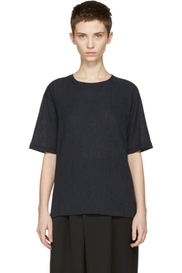 Issey Miyake - Navy Twisted Jersey T-Shirt