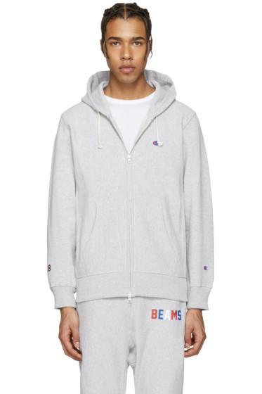 Champion x Beams - Grey Logo Zip-Up Hoodie