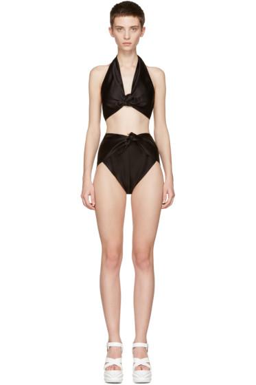 Miu Miu - Black Satin Halter Bikini