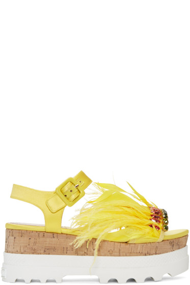 Miu Miu - Yellow Feather Compact Sole Sandals