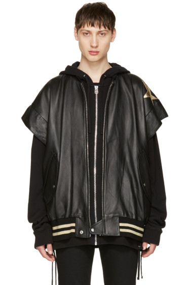 Faith Connexion - Black Leather Stars Bomber Jacket