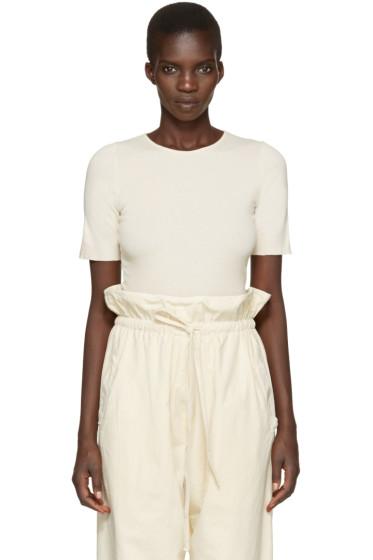 Lauren Manoogian - Off-White Cotton & Cashmere T-Shirt