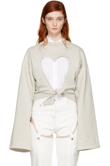 Y/Project - Grey Heart Cut-Out Sweatshirt