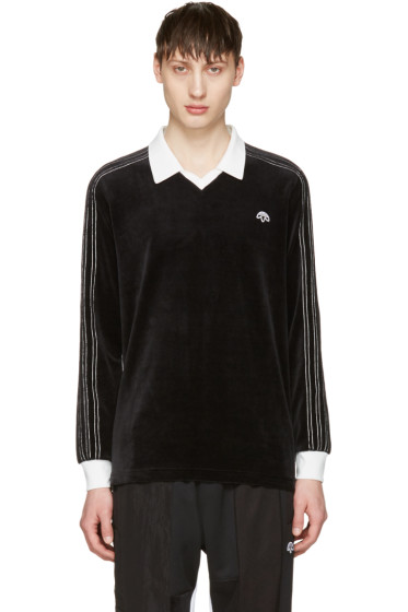 adidas Originals by Alexander Wang - Black Velour Long Sleeve Polo
