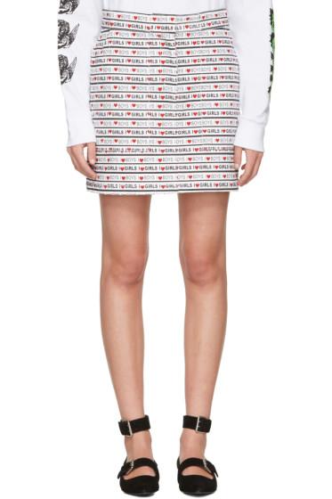 Ashley Williams - White Denim 'Boys Girls' Miniskirt