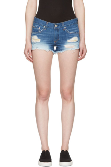 Rag & Bone - Blue Distressed Cut-Off Jean Shorts