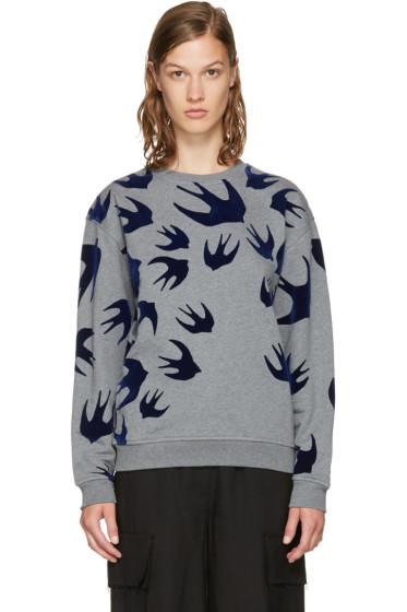 McQ Alexander McQueen - Grey & Navy Swallows Sweatshirt