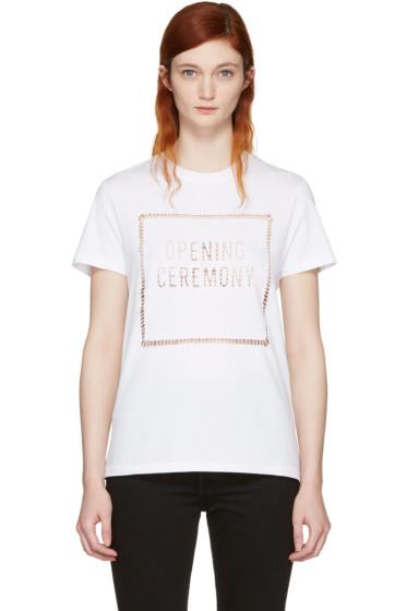 Opening Ceremony - White Logo Eyelet T-Shirt
