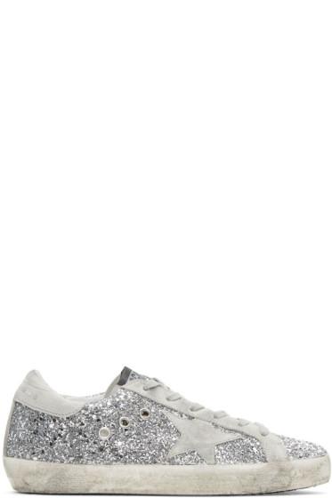 Golden Goose - SSENSE Exclusive Silver Glitter Superstar Sneakers
