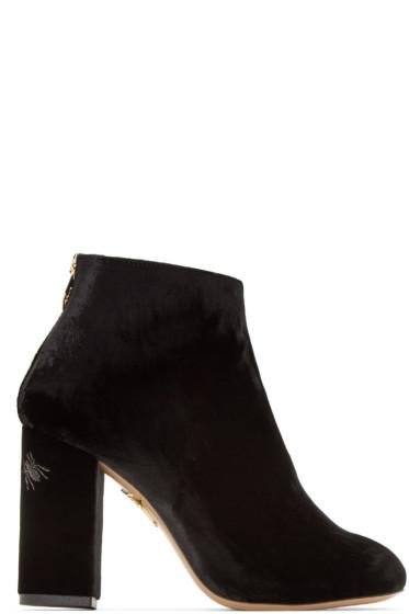 Charlotte Olympia - Black Velvet Alba Boots