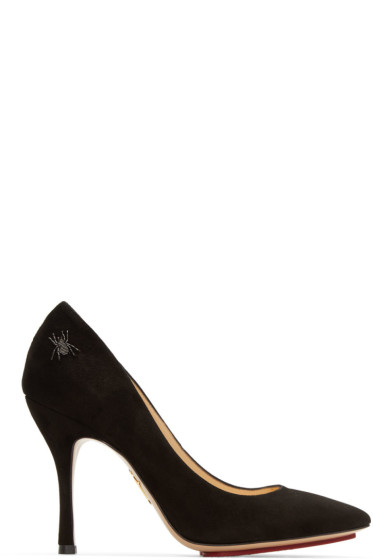 Charlotte Olympia - Black Suede Bacall Heels