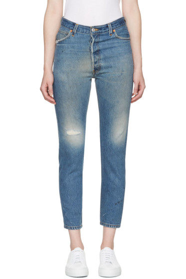 Re/Done - Blue High-Rise Ankle Crop Jeans