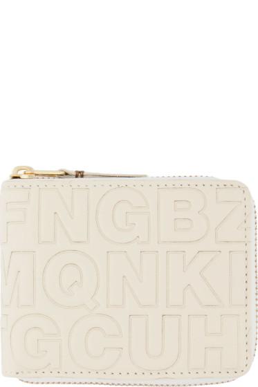 Comme des Garçons Wallets - Cream Letter Embossed Wallet