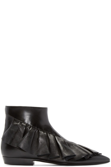 J.W. Anderson - Black Ruffled Ankle Boots