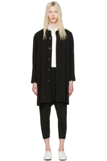 Homme Plissé Issey Miyake - Black Long Pleated Coat