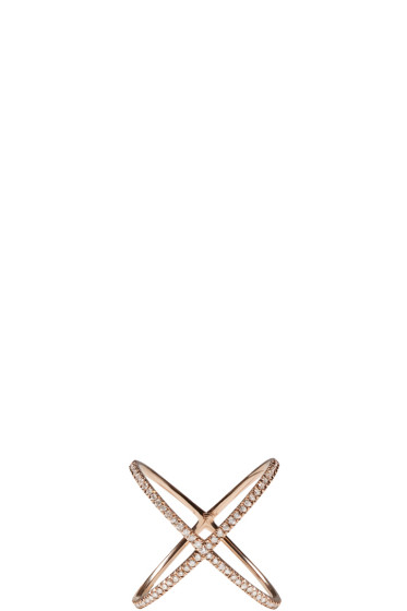 Eva Fehren - Rose Gold Diamond X Ring