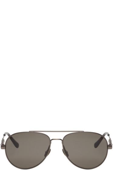Bottega Veneta - Gunmetal Metal-Frame Aviator Sunglasses