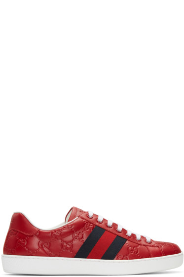 Gucci - Red Embossed Logo Sneakers