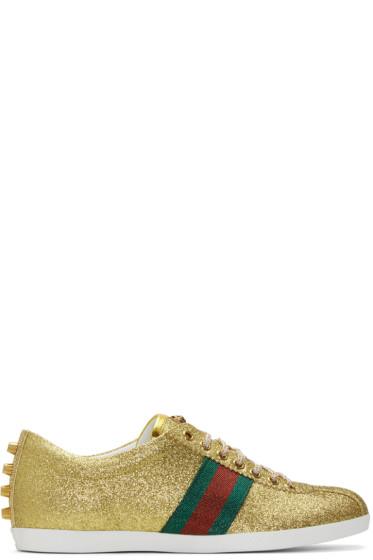 Gucci - Gold Glitter Bambi Sneakers
