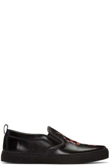 Gucci - Black Snake Slip-On Sneakers