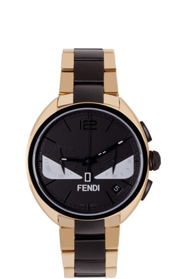 Fendi - Gold & Black Momento Bugs Watch