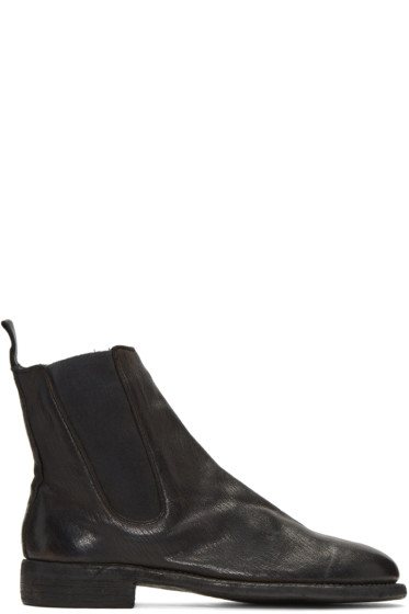 Guidi - ブラック レザー チェルシー ブーツ