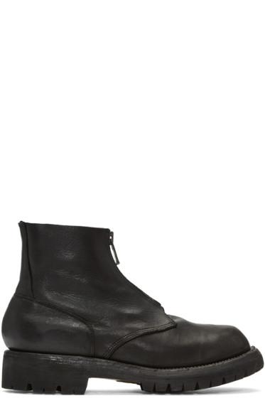 Guidi - ブラック レザー ジップ ブーツ