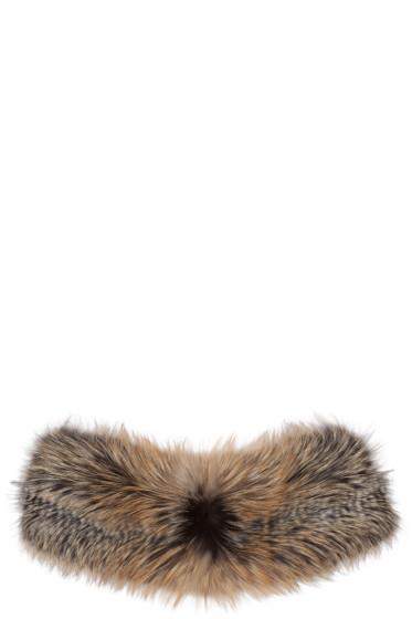 Brock Collection - グレー & ブラウン ファー スカーフ