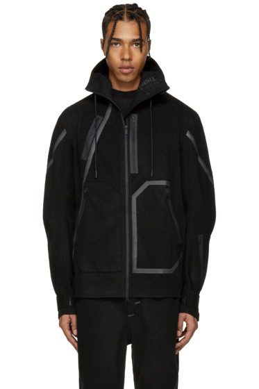 Y-3 SPORT - Black Wool Hooded Jacket