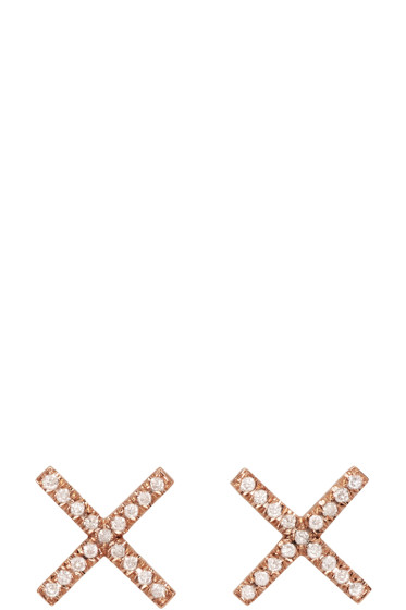 Eva Fehren - Rose Gold & Diamond X Studs